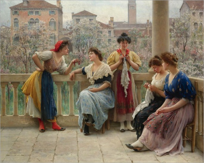 conversation_on_the_terrace_venice-Eugene de Blaas