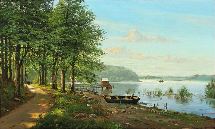 Danish Summer Landscape - J. Bisgaard (danish painter -19th century)