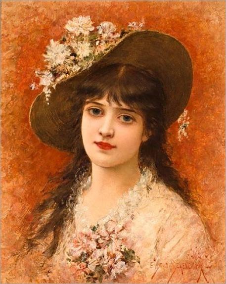 Emile-Eisman-Semenowsky-A-PORTRAIT-OF-A-GIRL-WITH-HAT