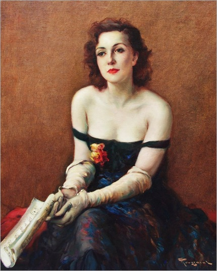 Fernand Toussaint (Belgian artist, 1873-1955) Lady with a Music Score