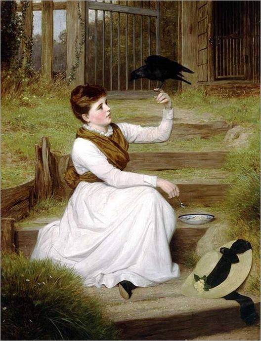 James Hayllar (english, 1829-1920)- The Tame Jackdaw
