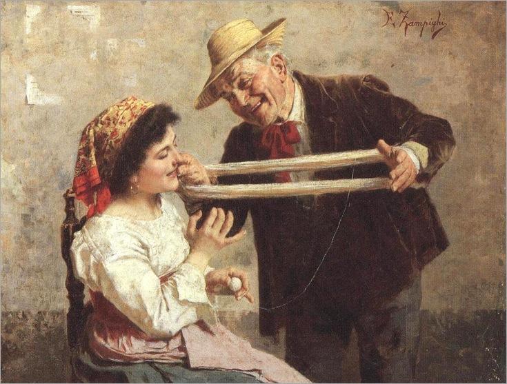 La carezza - Eugenio Zampighi (1859-1944)