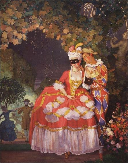 lady and harlequin-Konstantin Somov - 1921