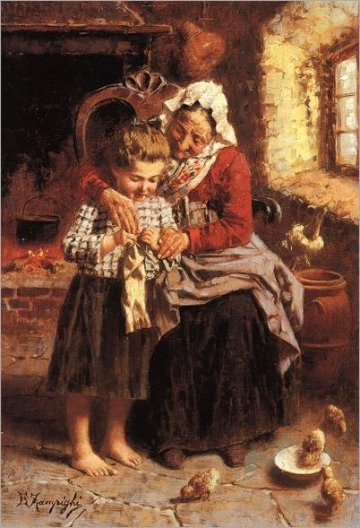 LEZIONE DELLA NONNA - Eugenio Zampighi (1859-1944)