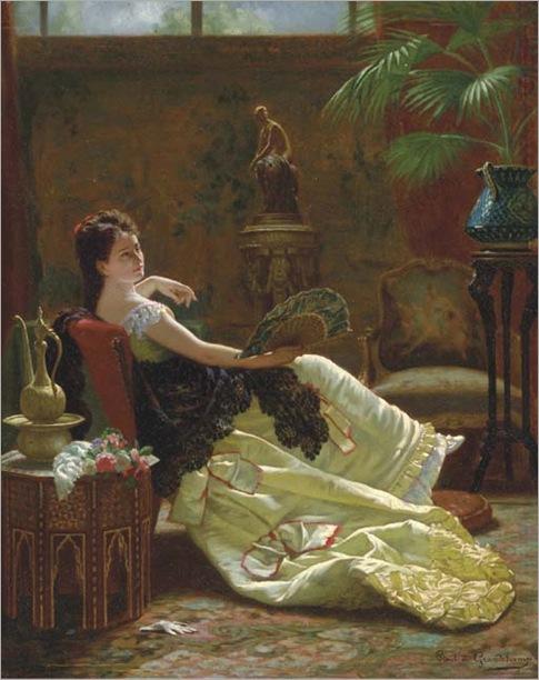 Louis Emile Pinel De Grandchamp (French, 1831-1894)-lady-with-a-fan