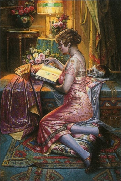 Max Carlier (belgian, 1872-1938)_a woman reading in an interior_681x1024