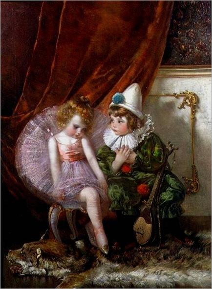pierrot-and-pierrette-by-Edmond Louyot (1861- 1920, French)