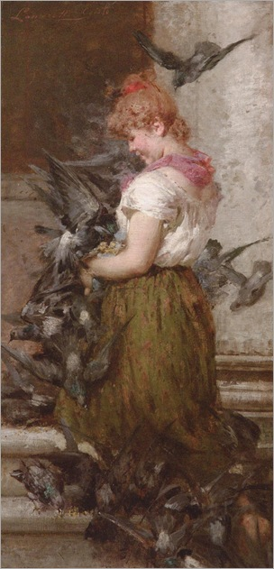 POPOLANA CON COLOMBI - Egisto Lancerotto (1847-1916)
