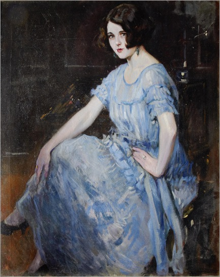 Portrait of a young woman in a blue dress.- Alejandro-Christophersen(Argentinian, 1866-1945)