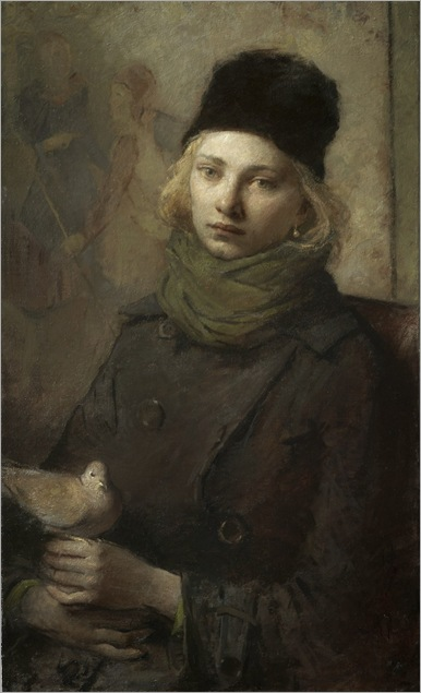 Portrait of Girl with Dove - Charles Weed