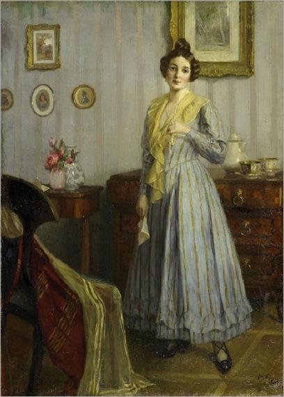 Robert-Scheffer-portraet-einer-jungen-dame-in-interieur