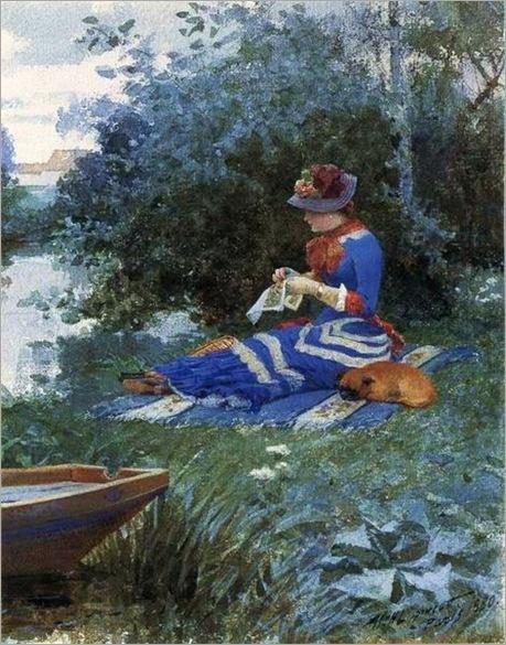 Sewing - William Lippincott (american painter)