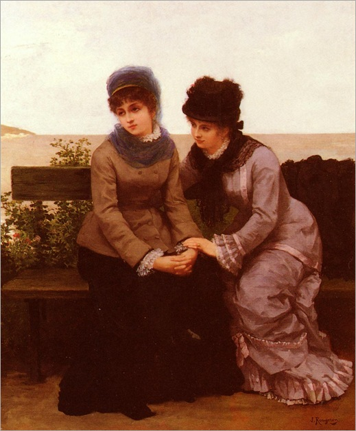 Two Girls by Jules James Rougeron (1841-1880)