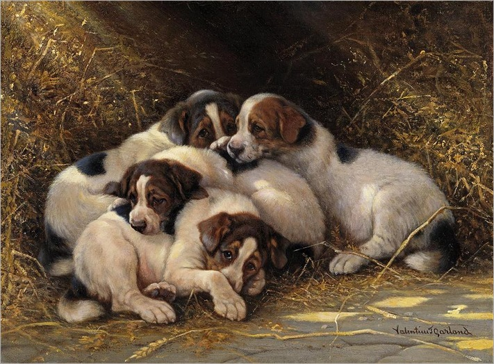 valentine-thomas-garland-puppies-in-a-haystack