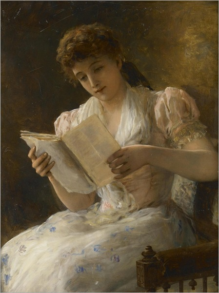 William Oliver (1823-1901) Portrait of a lady reading a book