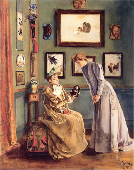Women with a Japanese Doll by Alfred Stevens -1894
