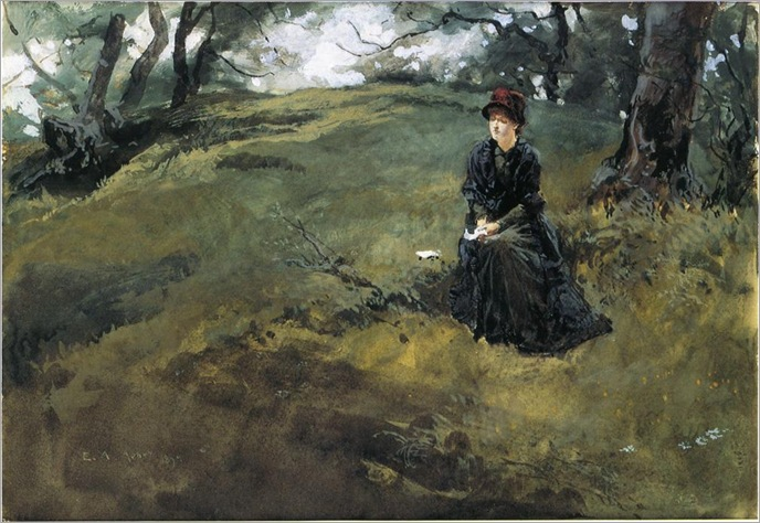 1879, Young Woman in the Woods-Edwin Austin Abbey