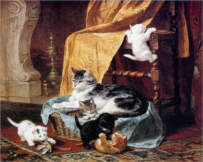 A-BUSY-FAMILY-Henriette-Ronner-Knip