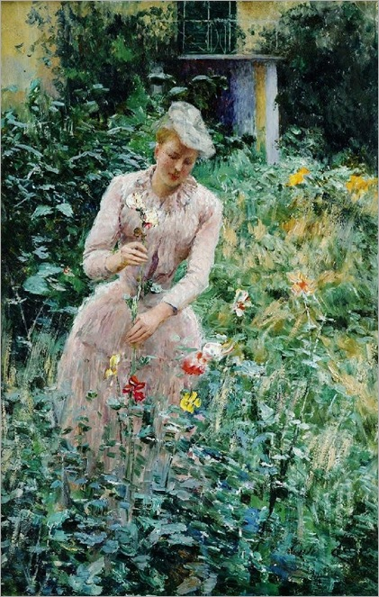 Belgian artist Emile Claus (1849-1924)-lady in the garden
