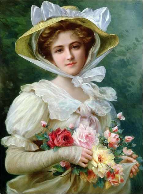 Elegant_lady_with_a_bouquet_of_roses - Emile Vernon (french, 1872-1919)