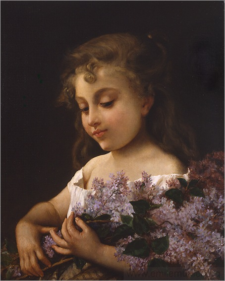 _Emile_Munier_young_girl_with_lilacs_
