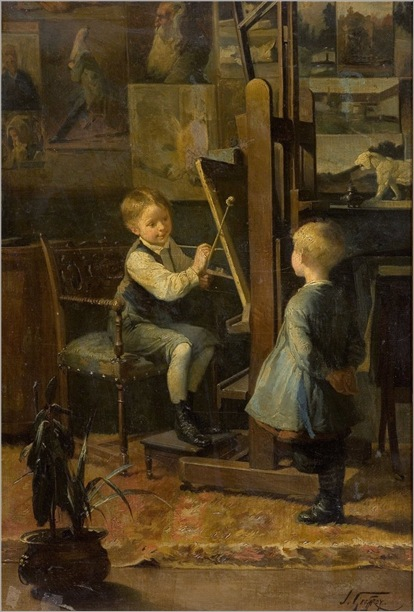 in the artist´s studio-Henry Jules Jean Geoffroy