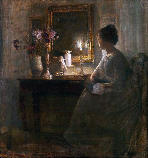 Interior with a woman-Carl Vilhelm Holsoe