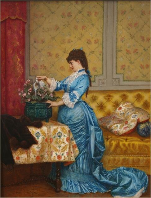 jeune femme en robe bleu - Auguste Toulmouche