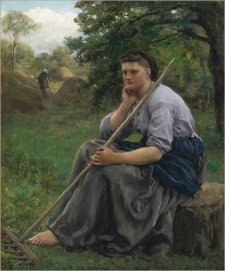 Jules Breton (french, 1827-1906) -FANEUSE ASSISE À L'ORÉE D'UN BOIS (THE HAYMAKER)