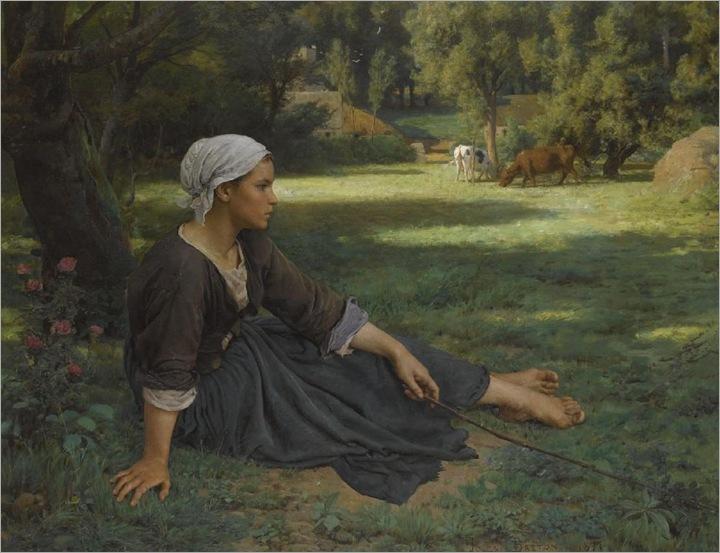 Jules Breton,  Jeune fille gardent des vachés