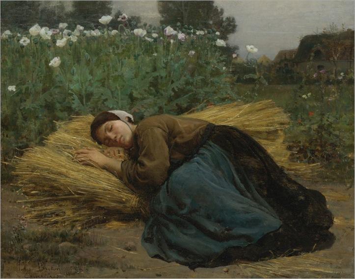 Jules Breton, Jeune Moissonneuse endormie sur des gerbes de ble, 1866