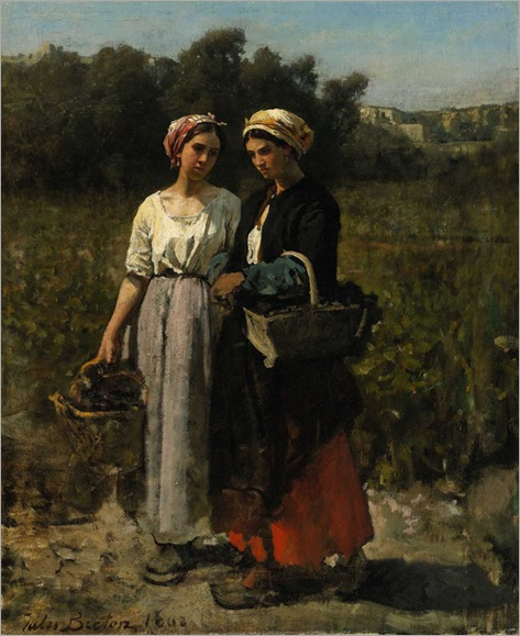 Jules Breton - Two Young Women Picking Grapes (Study for The Vintage at Château Lagrange) , 1862