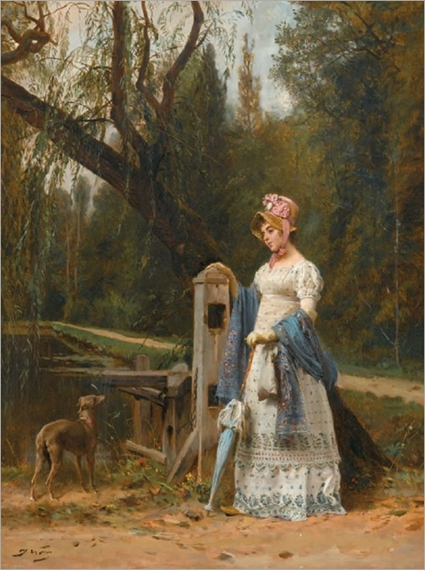 Jules Worms (1832 - 1914) - Elegant lady and her whippet