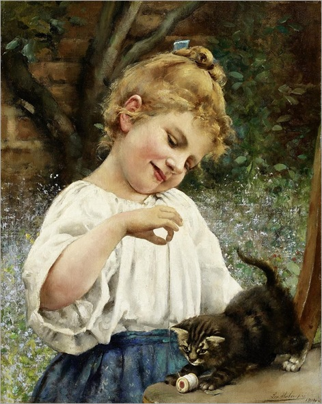 Leo Malempré (British-French, 1860-1901)- Girl Playing with a Kitten
