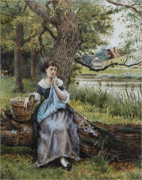 Maid seated by a tree before a river_George Goodwin Kilburne
