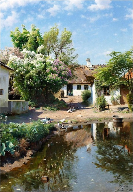 Peder-Mork-Monsted-Spring day at a thatched house with blooming lilacs