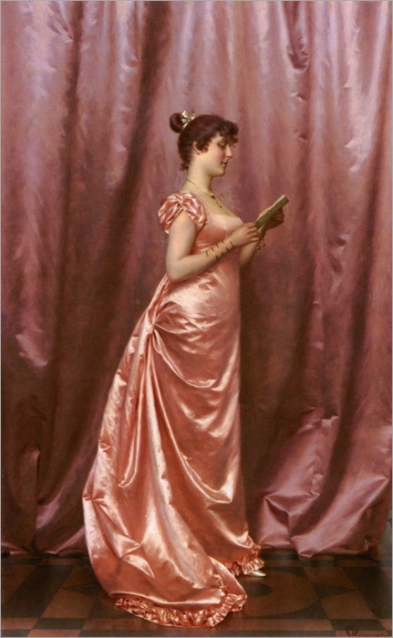 Reggiani_Vittorio_Elegant_Lady_in_Pink_oil on canvas