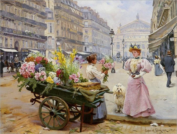Schreyer_Louis_Marie_de_La-Marchande_des_Fleurs_Avenue_De_Lopera_Paris_1895