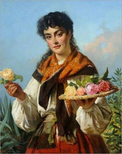 the flower girl-Edward Charles Barnes (British, 1832-1893)