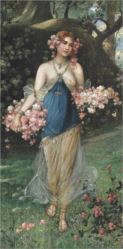 the maidens of spring-Hans Zatzka (austrian,1859-1945)