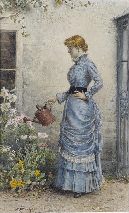 watering the flowers-George Goodwin Kilburne
