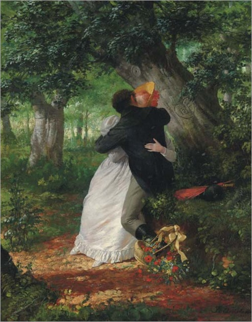 A Clandestine Embrace - Fritz Quidenus (german painter)