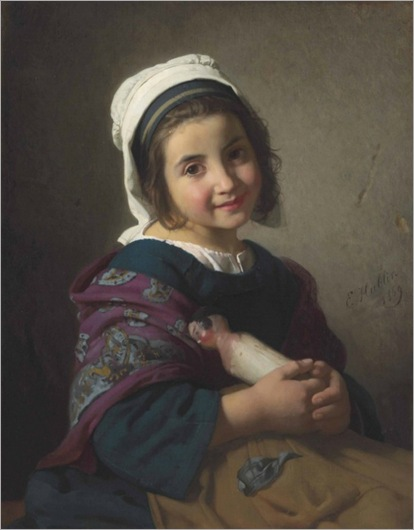 A Girl with Her Doll (1869)-Emile Auguste Hublin