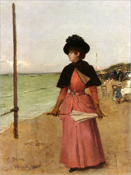 Duez_Ernest_Ange_An_Elegant_Lady_On_The_Beach