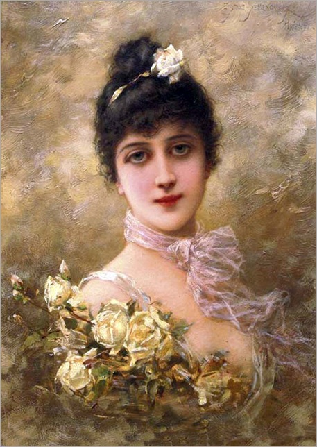 Elegant Lady with Yellow Roses - Semenowsky