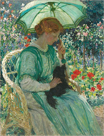 Emanuel Phillips Fox - The Green Parasol (1912)