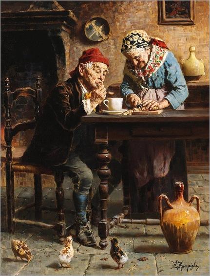 Eugenio Zampighi (Italian, 1859-1944) - A tasty meal