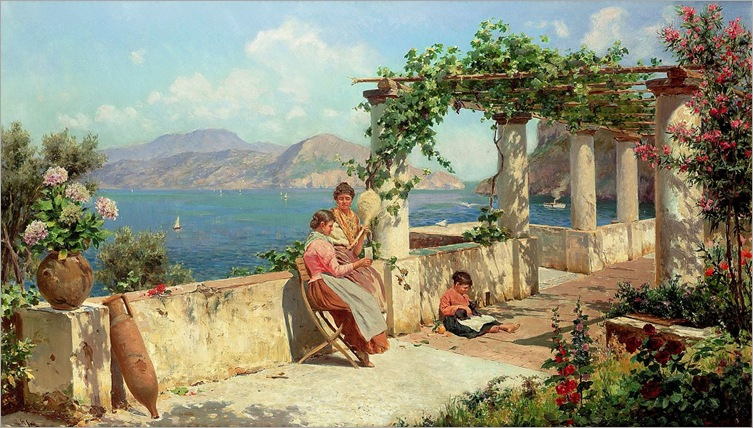 Figures on a Terrace in Capri by Robert Alott