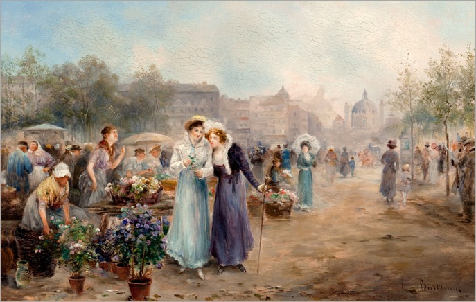 Flower Market Near Vienna's St Charles Church - Emil Barbarini