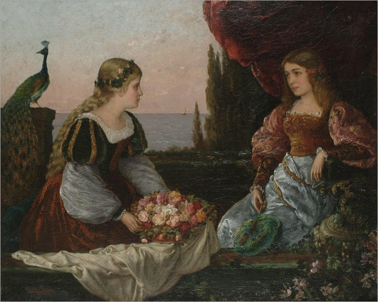 Gaston Haas (1852 - 1899) - Two beautiful girls on a terrace by the sea
